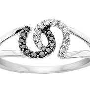 Fred Meyer Black and White Diamond Horseshoe Ring